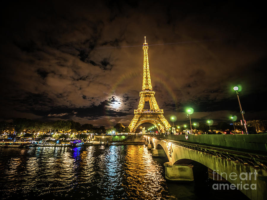 Bridge Photograph - Eiffell Tower At Night After The Storm Passed by PorqueNo Studios