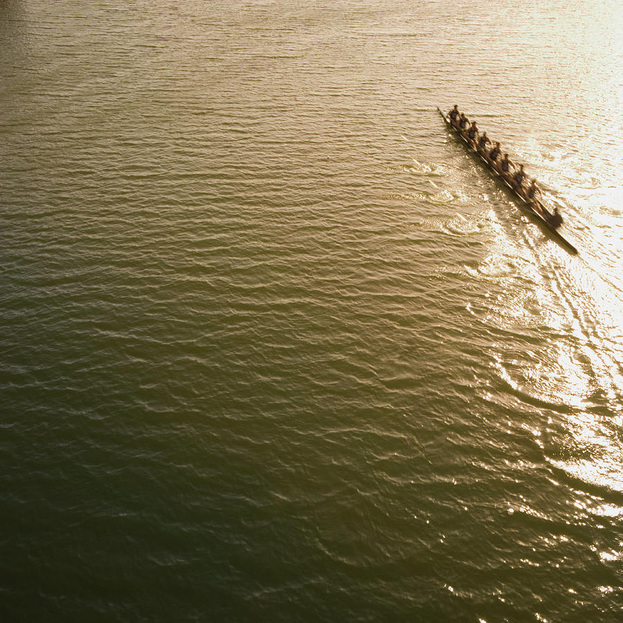 Eight Person Rowing Team In Shell With Photograph by David Madison