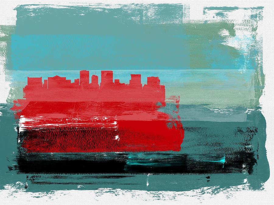 El Paso Mixed Media - El Paso Abstract Skyline I by Naxart Studio