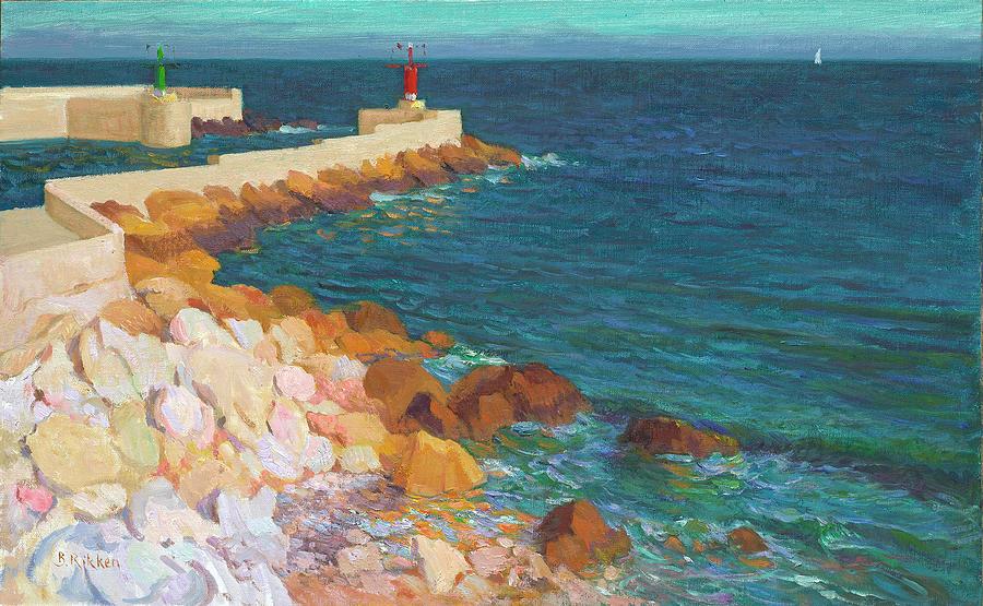 Costa Brava Painting - El Portret At Evening Light by Ben Rikken