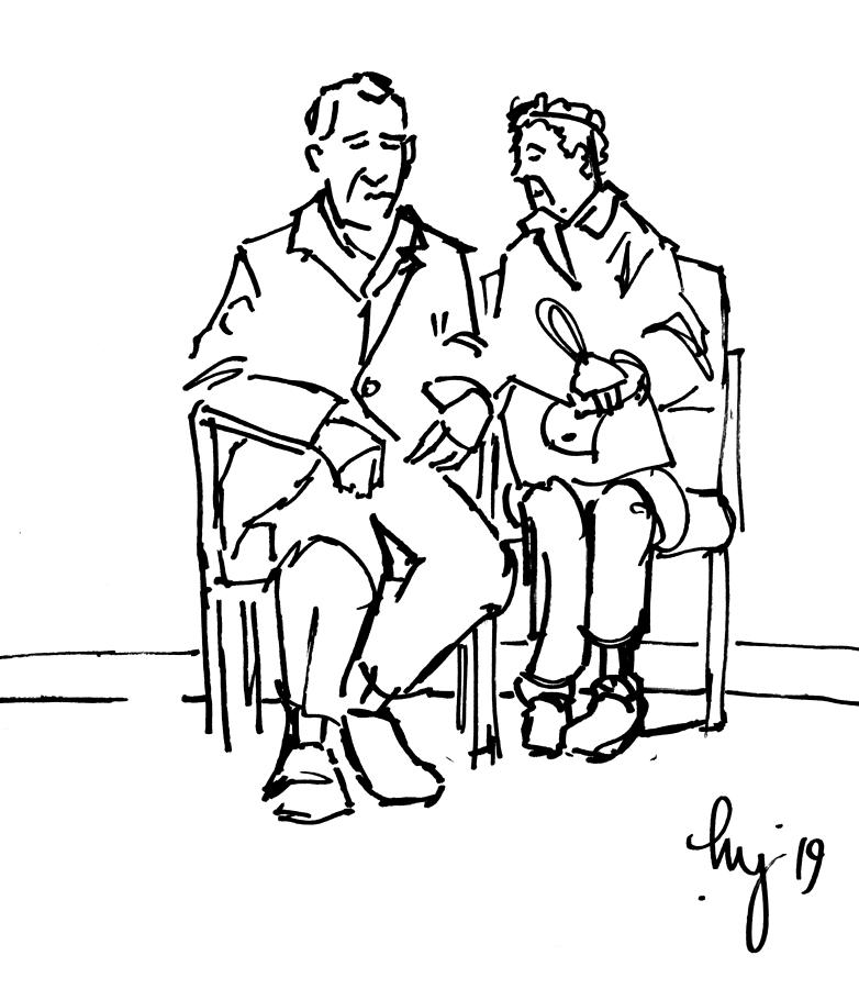 Elderly couple man and wife sitting together illustration by Mike Jory