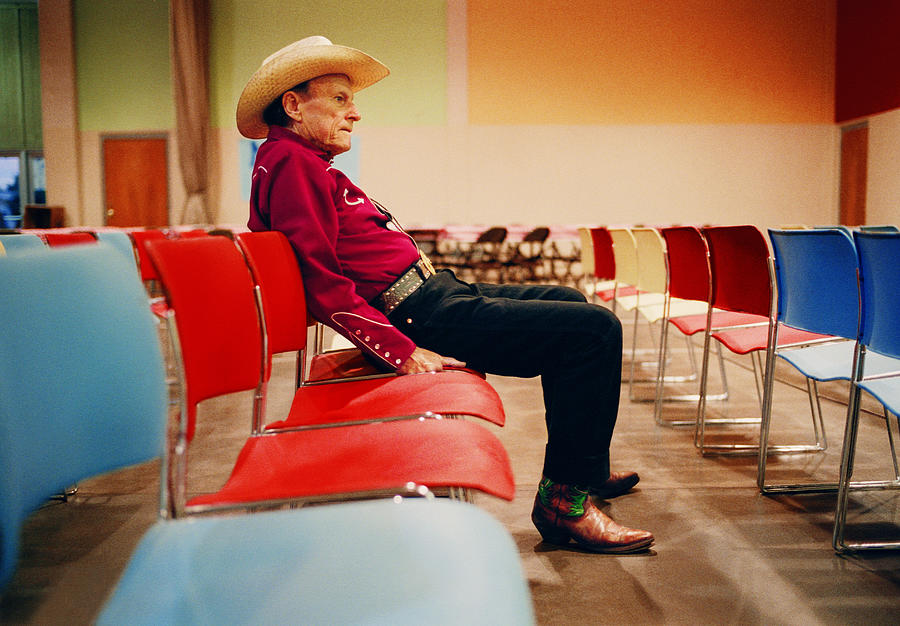 Elderly Man Wearing Cowboy Hat, Sitting Photograph by Reza Estakhrian