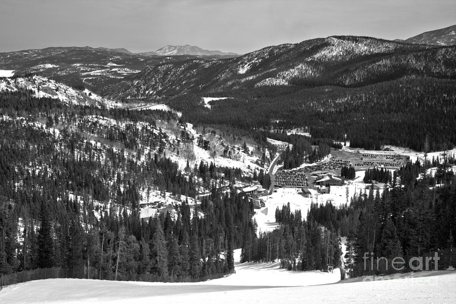 Eldora Mountain Base Lodge And Beyond Black And White by Adam Jewell