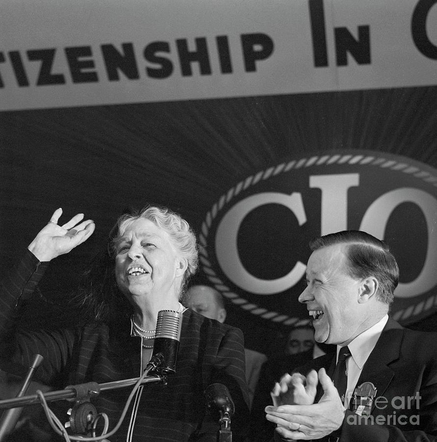 Eleanor Roosevelt Speaking At Cio Photograph by Bettmann