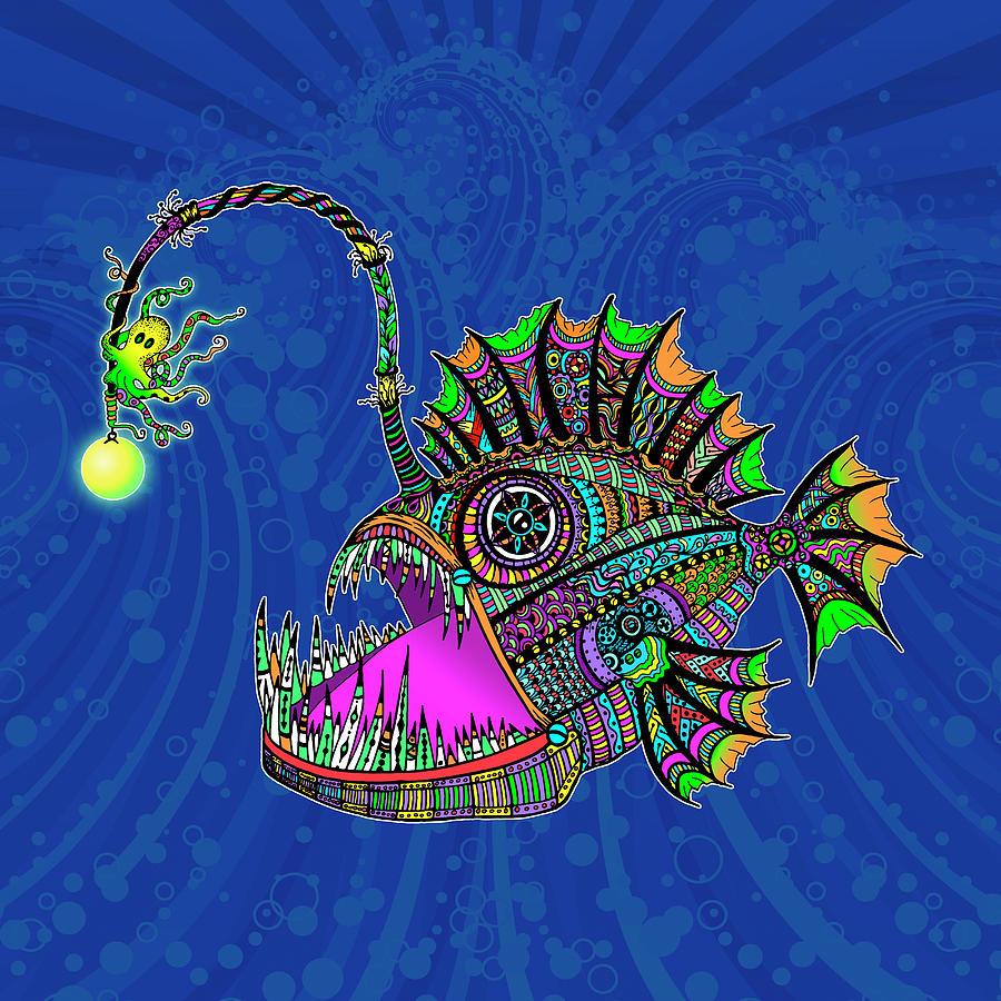 Angler Fish Mixed Media - Electric Anglerfish by Tammy Wetzel