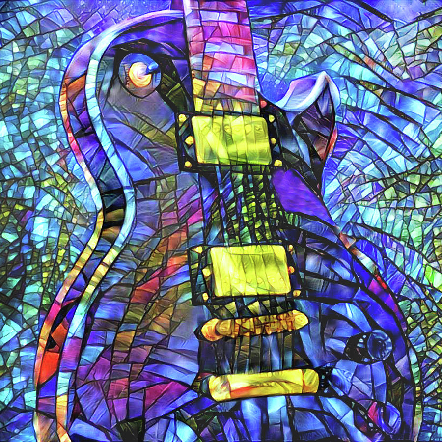 Electric Guitar - Stained Glass by Peggy Collins