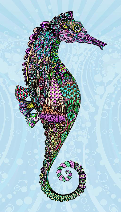 Seahorses Mixed Media - Electric Seahorse-girl by Tammy Wetzel