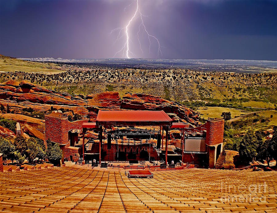 Red Rocks Amphitheater Photograph - Electrified Red Rocks Ampitheater- Denver by Sherry Little Fawn Schuessler