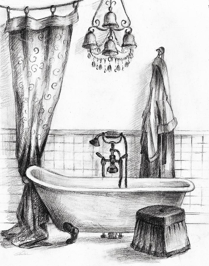 Bath Painting - Elegant Bath II Bw Crop by Silvia Vassileva