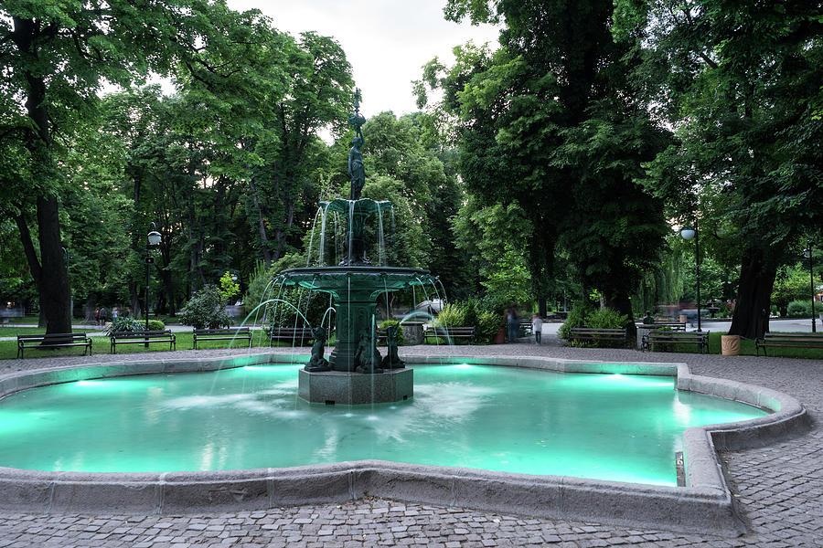 Elegant Bronze Fountain Illuminated in Paolo Veronese Green by Georgia Mizuleva