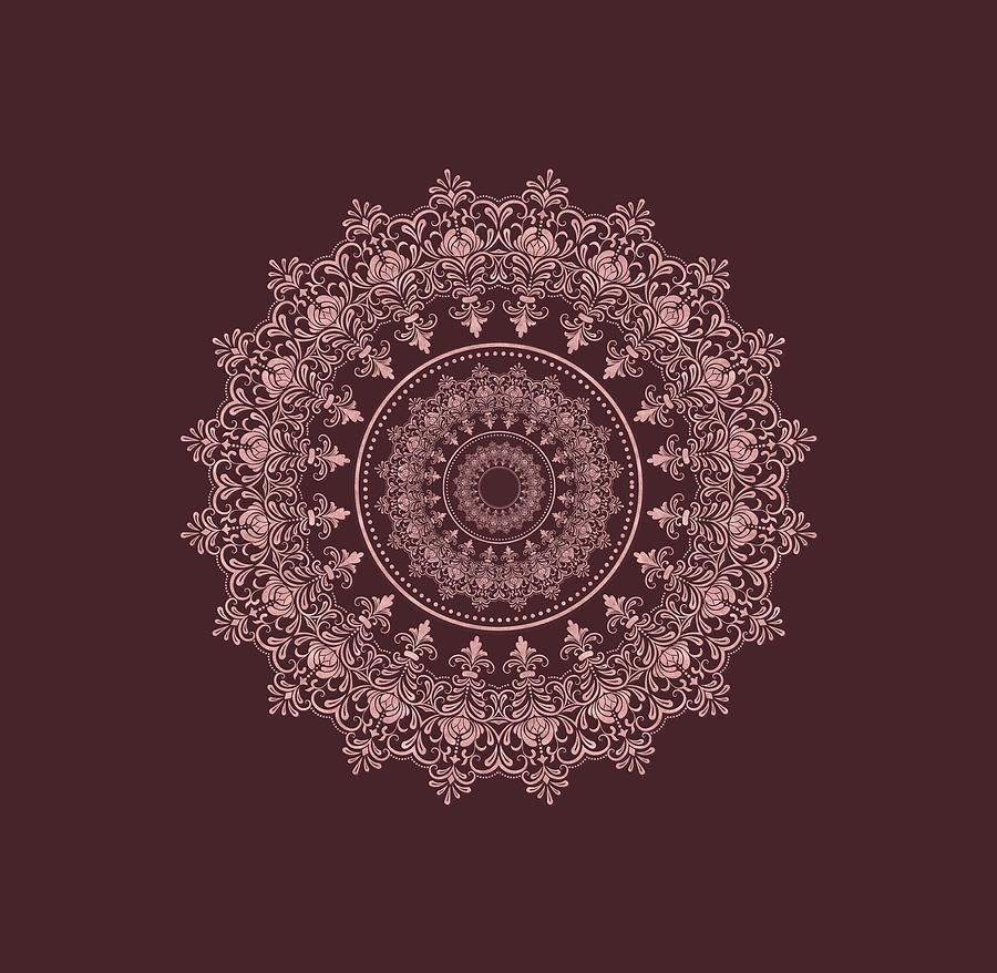 Elegant Rose Gold Mandala Burgundy Purple by Georgeta Blanaru