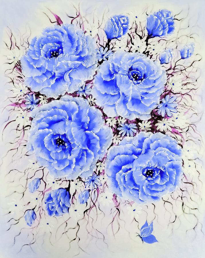 Blue Painting - Elegant Rose Treasures In Blue  by Angela Whitehouse