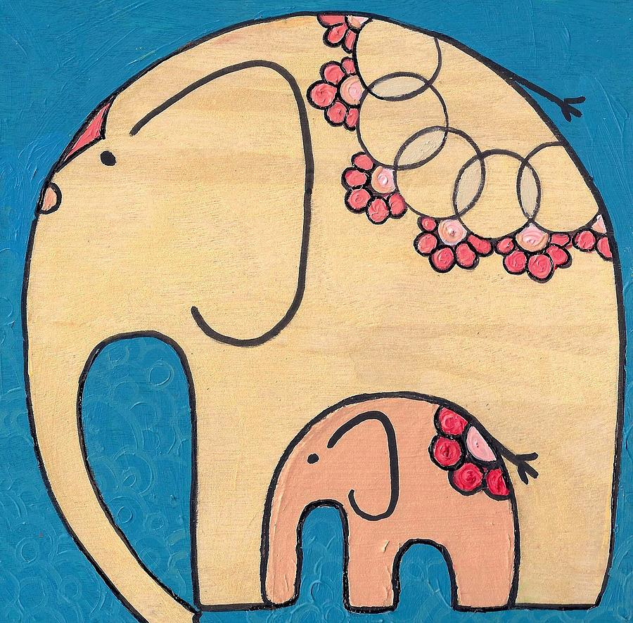 Elephant and Child on blue by Caroline Sainis