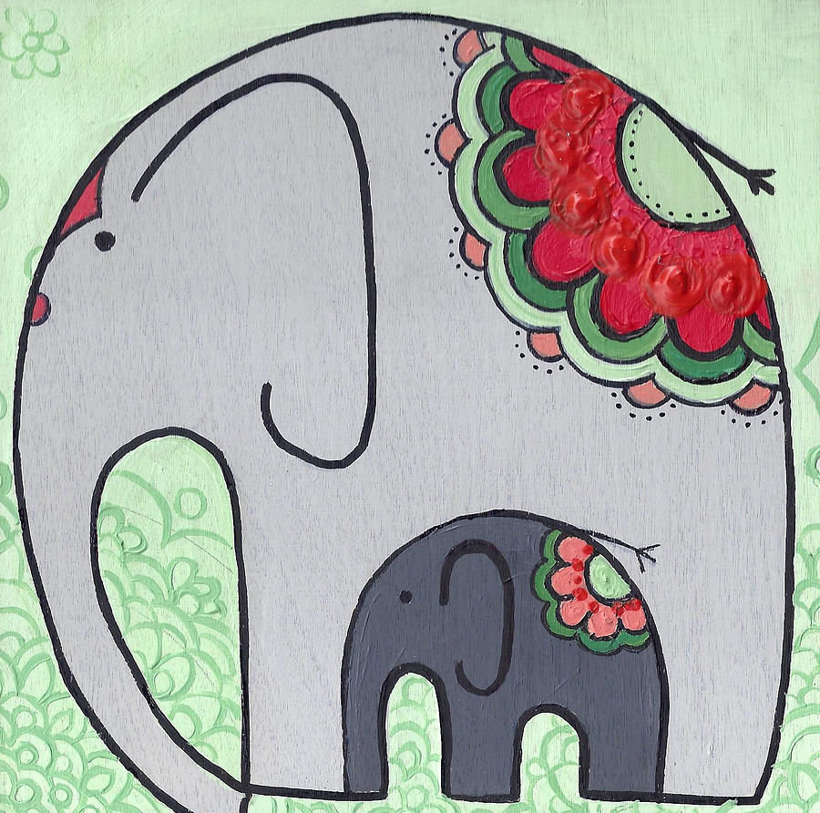 Elephant and Child on green by Caroline Sainis