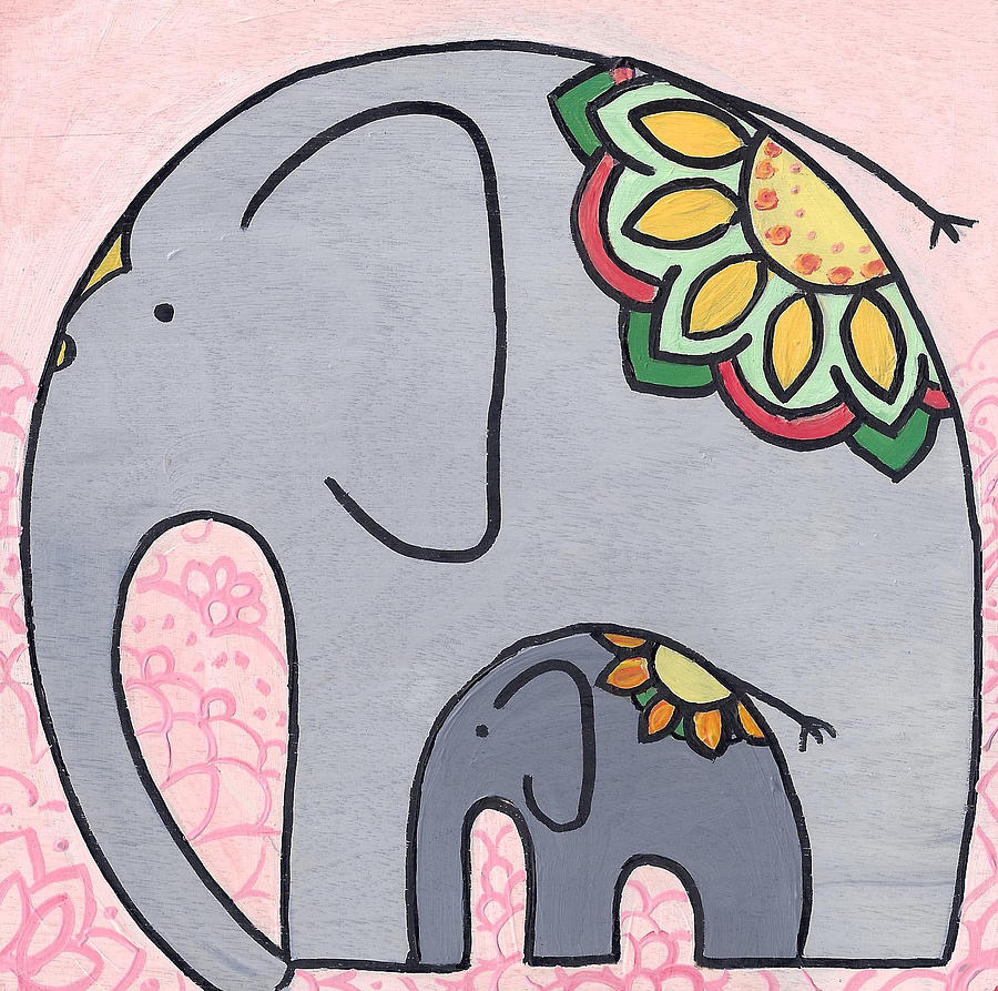 Elephant and Child on pink by Caroline Sainis