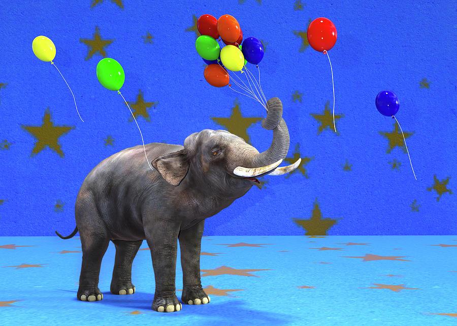 Elephant Digital Art - Elephant Celebration by Betsy Knapp