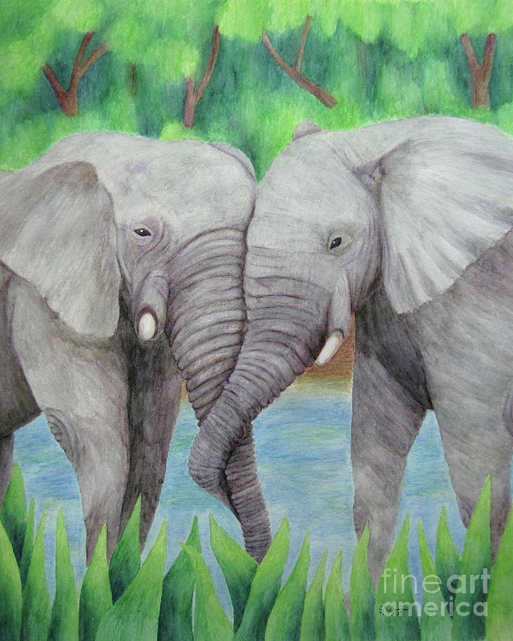 Yellow Drawing - Elephant Couple by The Unfolding Butterfly