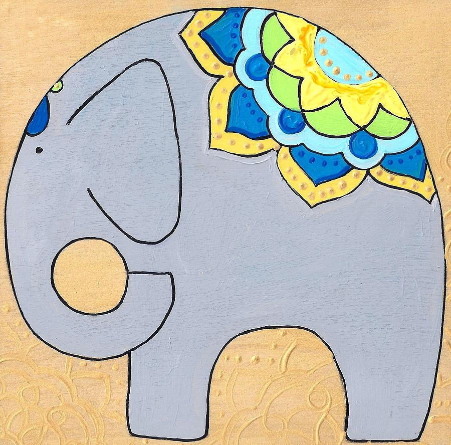 Elephant on gold by Caroline Sainis