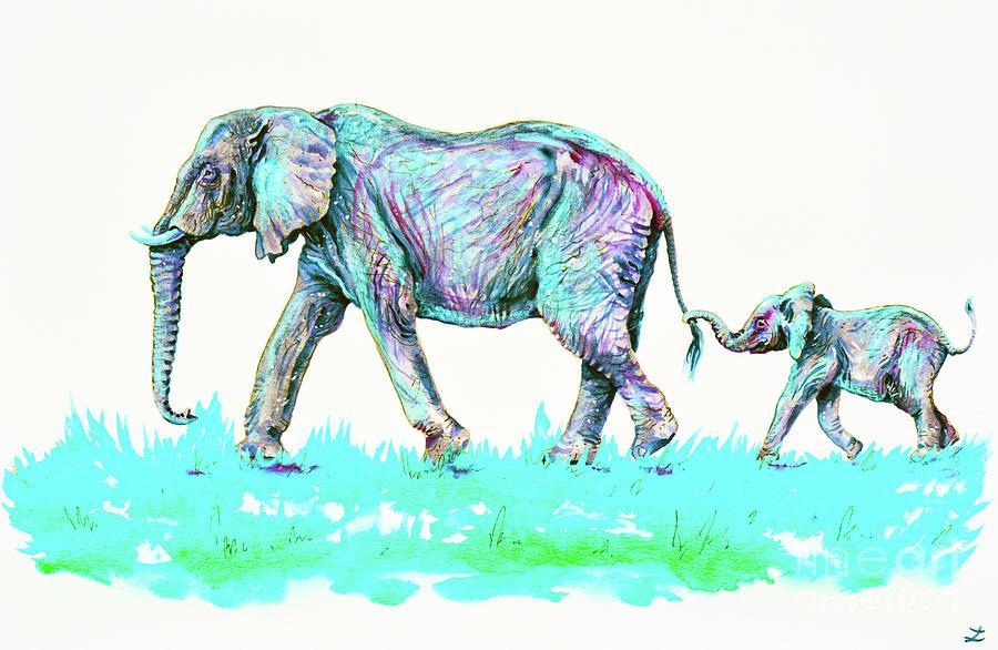 Elephants Mother and Child by Zaira Dzhaubaeva