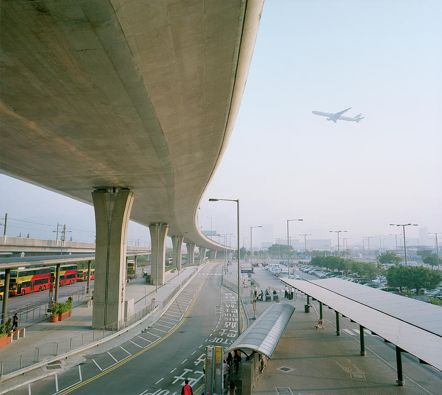 Elevated Road With Airplane In Photograph by Mark Horn