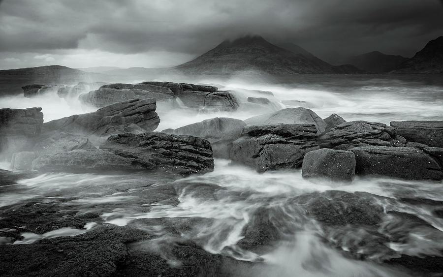 Elgol Wavebreak 3 - Mono Photograph