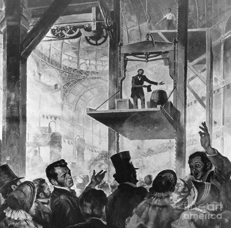 Elisha Otis Demonstrating Elevator Photograph by Bettmann