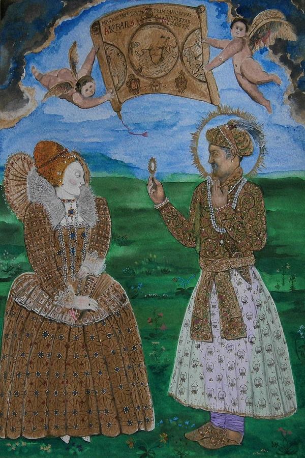 Elizabeth And Akbar by Balkishan Jhumat