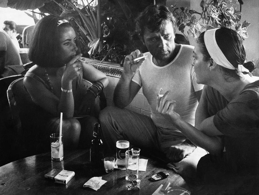 Smoking Photograph - Elizabeth Taylorava Gardnerrichard by Gjon Mili
