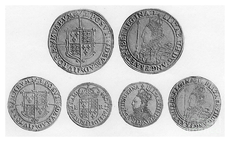 Elizabethan Coins, 1896 Drawing by Print Collector