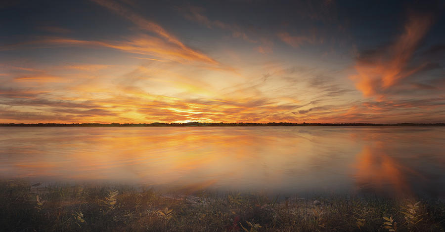 Elk Lake Sunset October by Dean Ginther