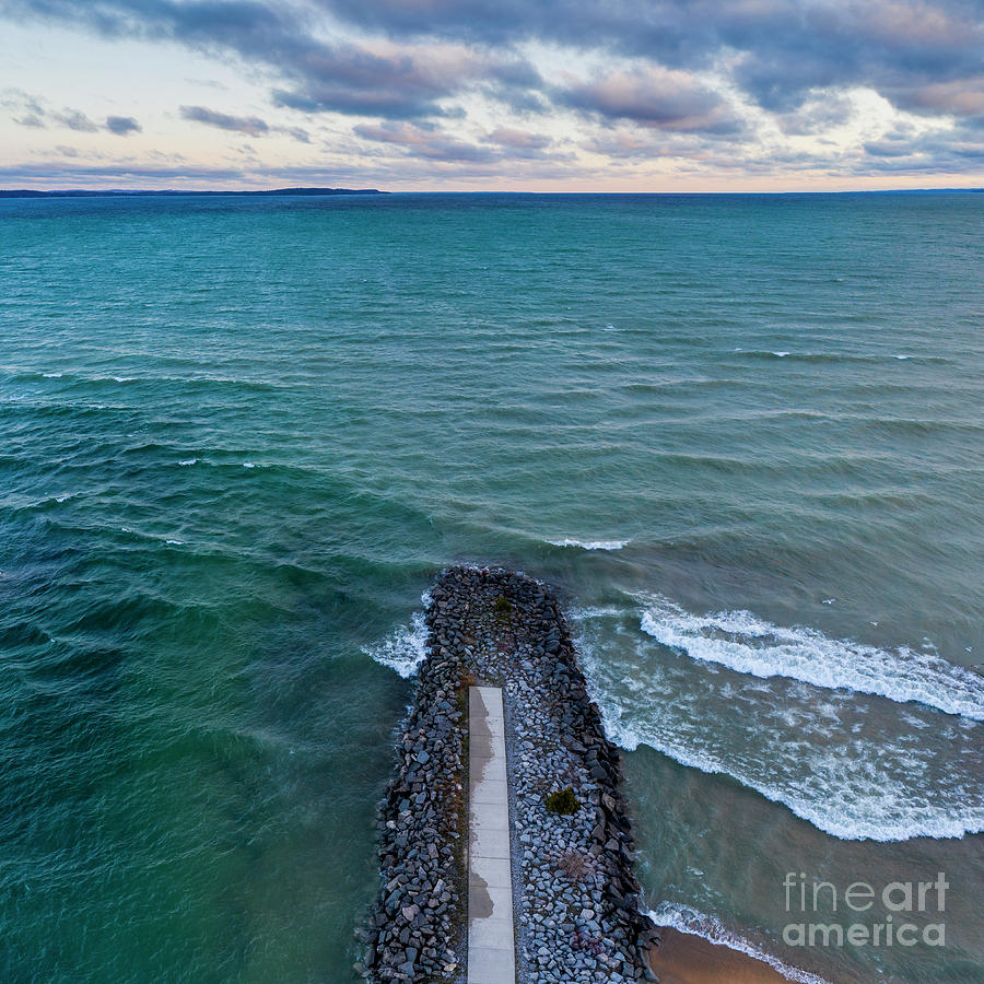 Elk Rapids Photograph - Elk Rapids Morning Aerial by Twenty Two North Photography