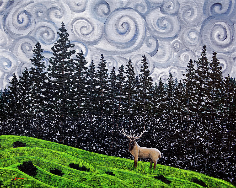 Elk Under Swirling Gray Clouds by Laura Iverson