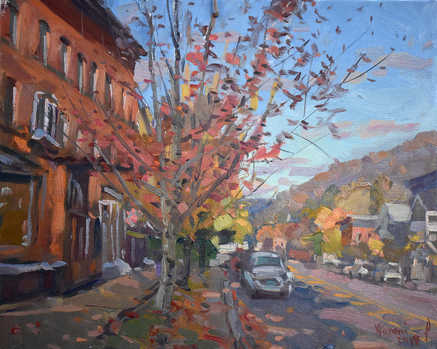Fall Colors Painting - Ellicottville Village by Ylli Haruni