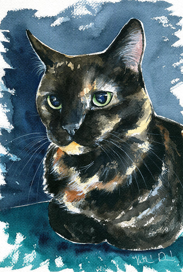 Ellie Tortoiseshell Cat Portrait by Dora Hathazi Mendes