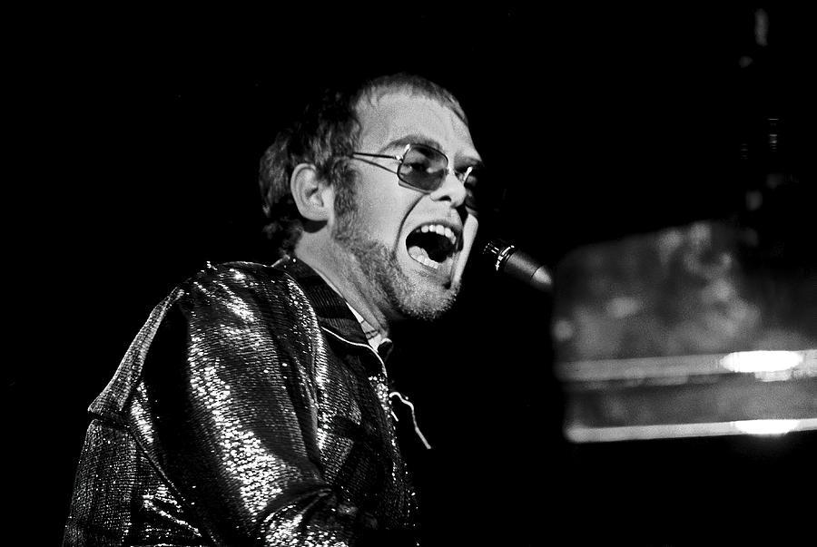 Elton Photograph - ELTON JOHN AT PIANO c. 1975 by Daniel Hagerman
