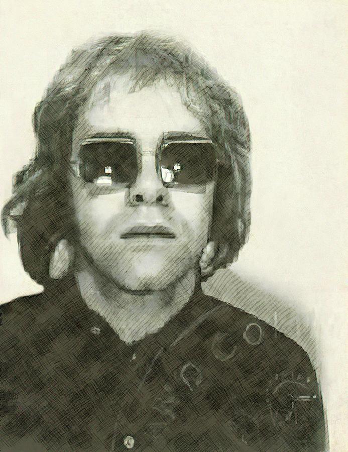 Elton Digital Art - Elton John Passport Photo 1972 by Daniel Hagerman