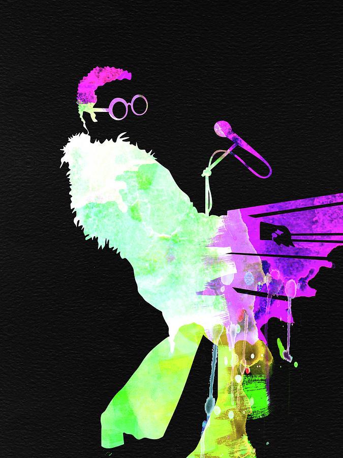 Elton John Mixed Media - Elton Watercolor II by Naxart Studio