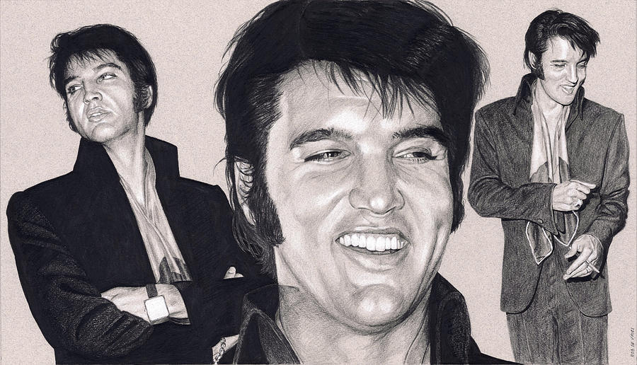 Elvis Drawing - Elvis in Charcoal #191 by Rob De Vries