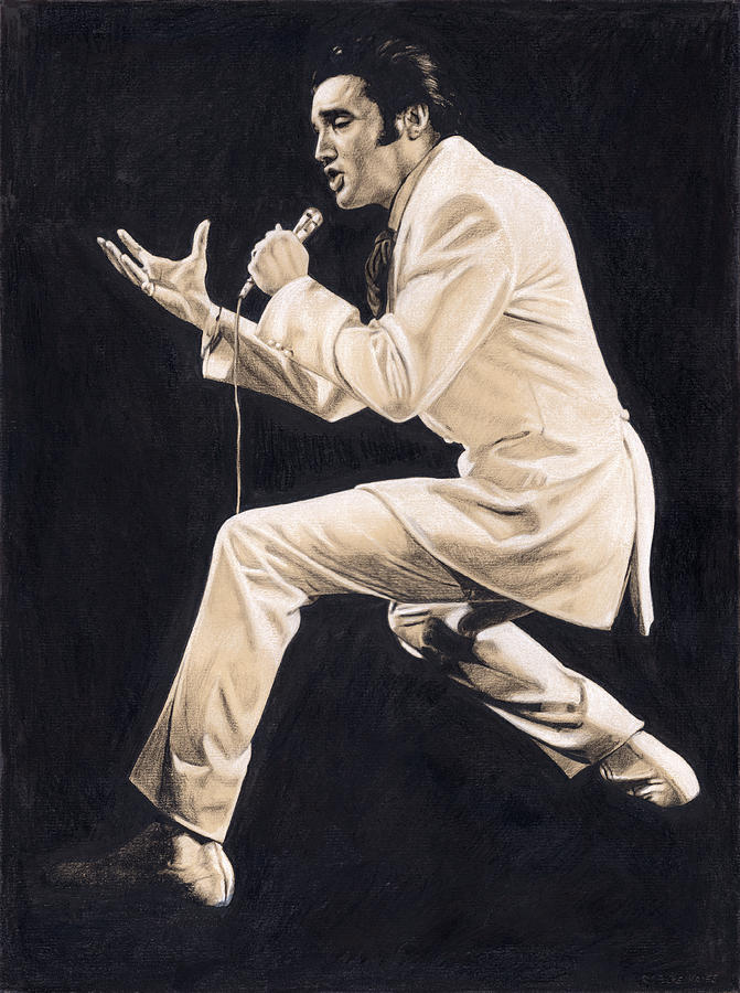 Elvis Drawing - Elvis in Charcoal #192 by Rob De Vries