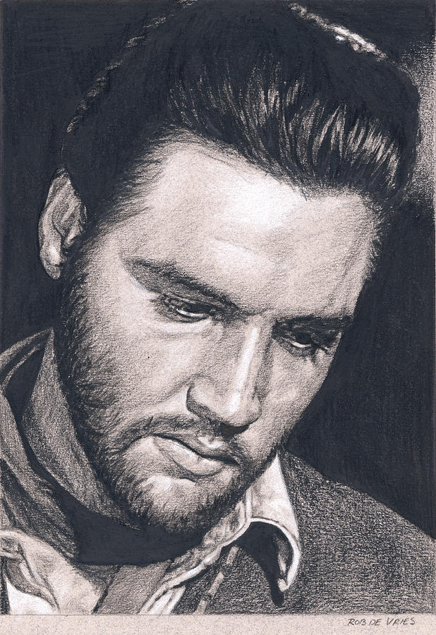Elvis Drawing - Elvis in Charcoal #195 by Rob De Vries