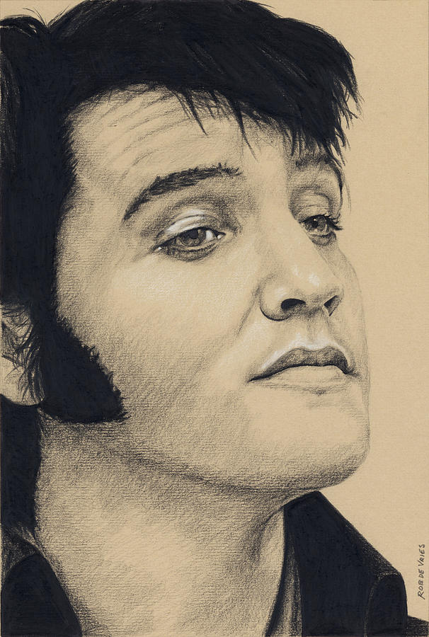 Elvis Drawing - Elvis in Charcoal #206 by Rob De Vries
