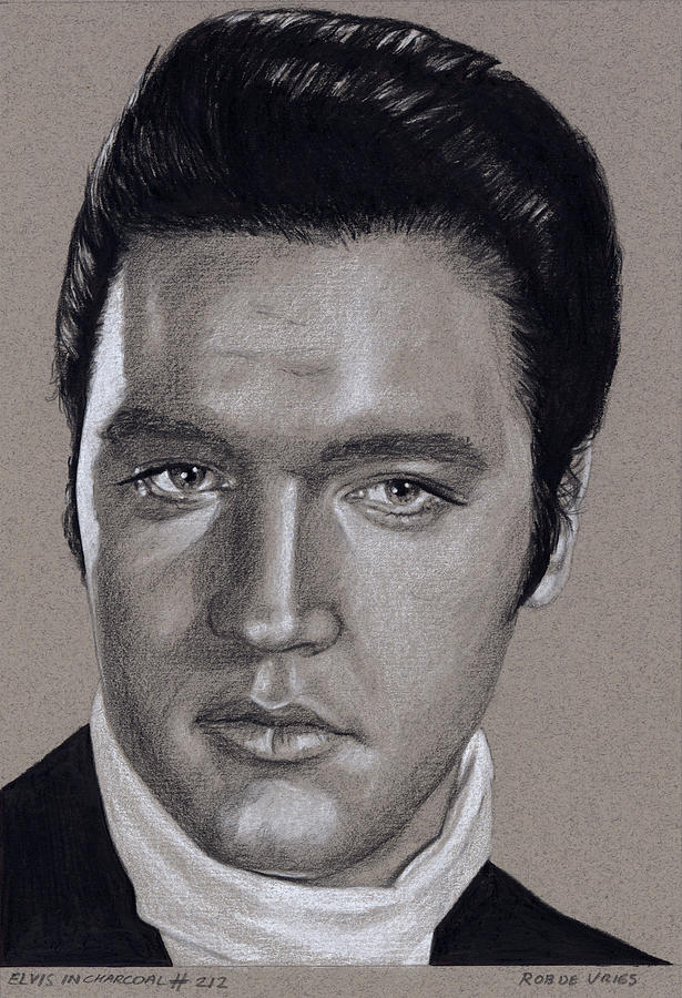 Elvis Drawing - Elvis in Charcoal #212 by Rob De Vries