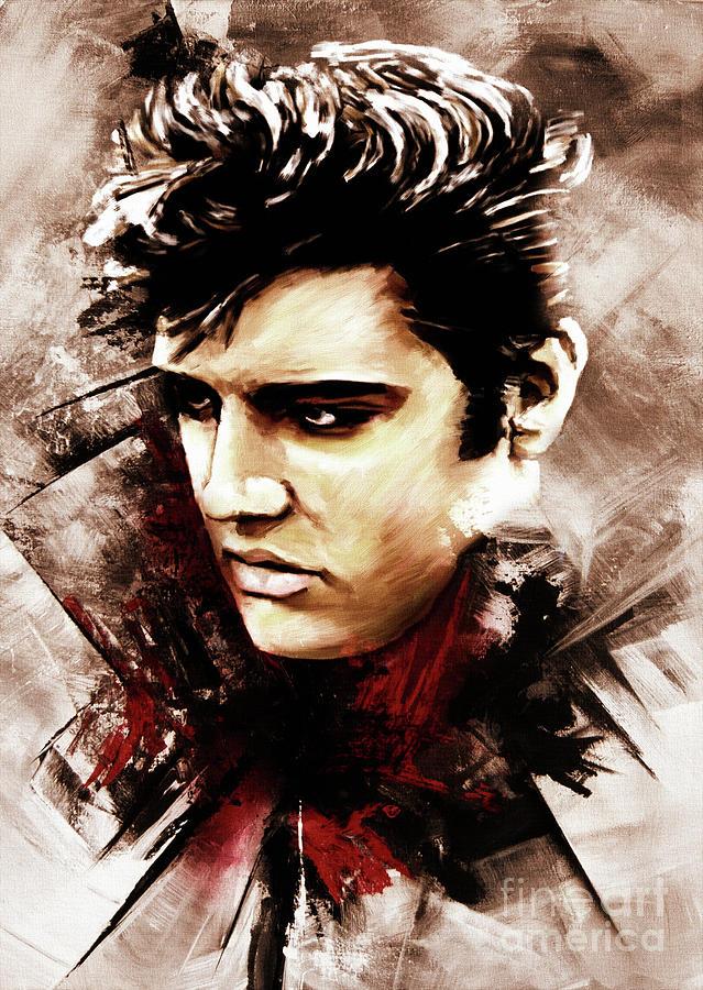 Elvis Presley Painting - Elvis portrait 01 by Gull G