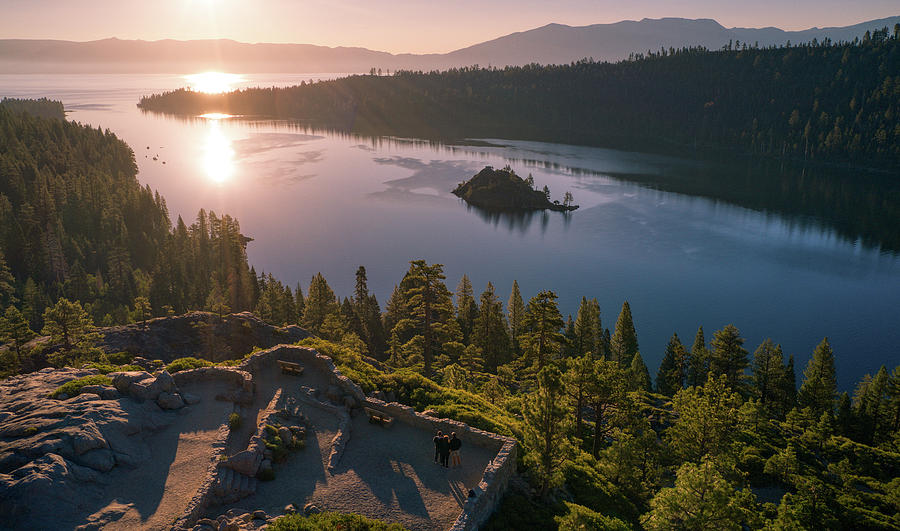 Emerald Bay Pink Sunrise California  by Ants Drone Photography