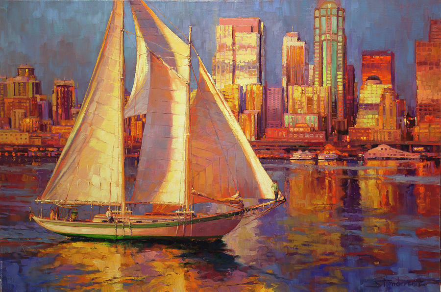 Sailboat Painting - Emerald City Twilight by Steve Henderson