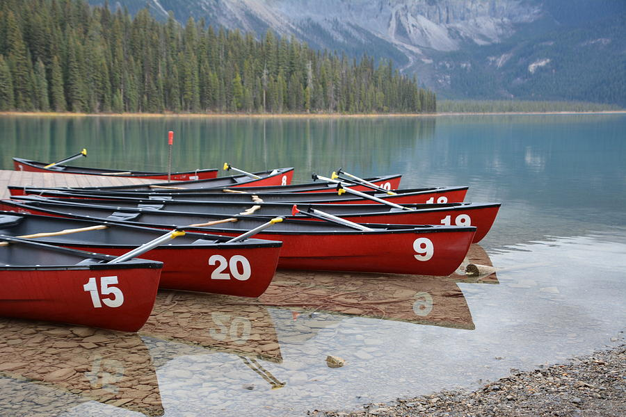 Canoes Photograph - Emerald Lake Canoes by Norman Burnham