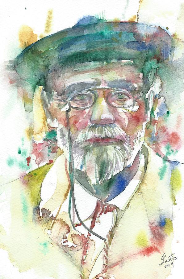 EMILE ZOLA - watercolor portrait Painting by Fabrizio Cassetta