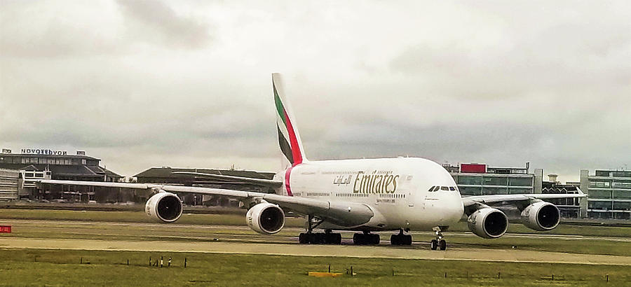 Emirates Airbus A380-800 at London Heathrow Airport by Jamie Baldwin