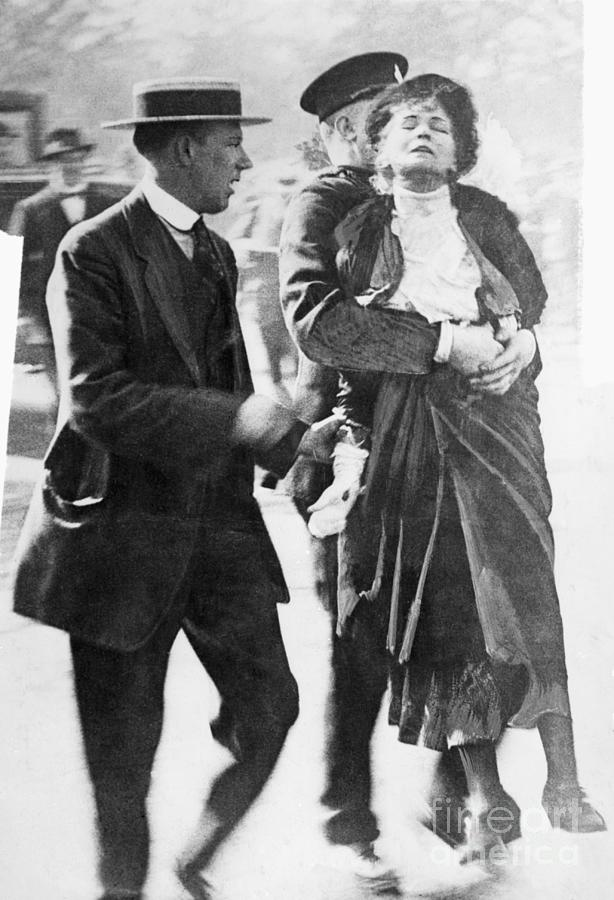 Emmeline Pankhurst Carried By Officer Photograph by Bettmann