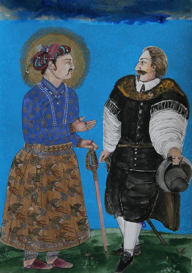 Emperor Jahangir and Sir Thomas Roe by Balkishan Jhumat